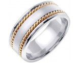 Two Tone Gold Hand Braided Wedding Band 8mm TT-359B