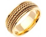 Yellow Gold Hand Braided Wedding Band 8.5mm YG-362