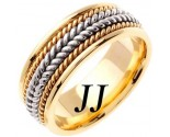 Two Tone Gold Hand Braided Wedding Band 8.5mm TT-362A
