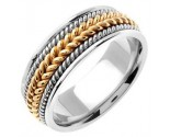 Two Tone Gold Hand Braided Wedding Band 8.5mm TT-362B