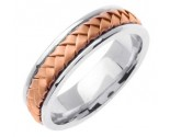 Two Tone Gold Hand Braided Wedding Band 7mm TT-358C