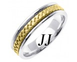 Two Tone Gold Hand Braided Wedding Band 5.5mm TT-361B