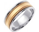 Two Tone Gold Hand Braided Wedding Band 8mm TT-368