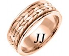 Rose Gold Hand Braided Wedding Band 8mm RG-369