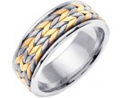 Two Tone Gold Hand Braided Wedding Band 8mm TT-369