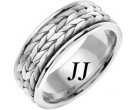White Gold Hand Braided Wedding Band 8mm WG-369