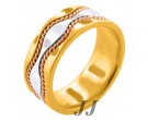 Tri Color Gold Hand-Made Wedding Band 9mm TC-375C