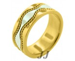 Two Tone Gold Hand-Made Wedding Band 9mm TT-375A