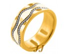 Two Tone Gold Hand-Made Wedding Band 9mm TT-375B