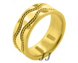 Yellow Gold Hand-Made Wedding Band 9mm YG-375