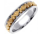 Two Tone Gold Diamond Back Wedding Band 6mm TT-451B