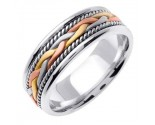 Tri Color Gold Hand Braided Wedding Band 7mm TC-455B