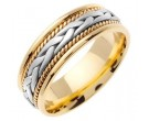 Two Tone Gold Hand Braided Wedding Band 7mm TT-455A
