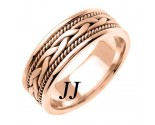 Rose Gold Hand Braided Wedding Band 7mm RG-455