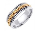 Two Tone Gold Hand Braided Wedding Band 7mm TT-455B
