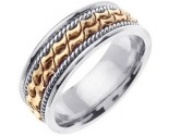 Two Tone Gold Bow-Tie Braid Wedding Band 8mm TT-461B
