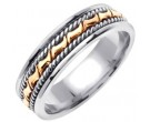 Two Tone Gold Bow-Tie Braid Wedding Band 6mm TT-460B