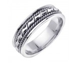 White Gold Bow-Tie Braided Wedding Band 6mm WG-460
