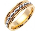Two Tone Gold Bow-Tie Braid Wedding Band 6mm TT-460C