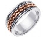 Two Tone Gold Bow-Tie Braid Wedding Band 8mm TT-461A