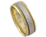 Two Tone Gold Hammered Wedding Band 7mm TT-492