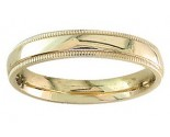 4mm Milgrain Plain Yellow Gold Wedding Band PLNYMB-4mm