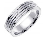 White Gold Brick Wedding Band 6.5mm WG-951