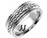 White Gold Hand Braided Wedding Band 8mm WG-655