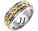 Two Tone Gold Inter-Braided Wedding Band 8mm TT-659A