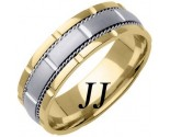 Two Tone Gold Brick Wedding Band 7mm TT-760A