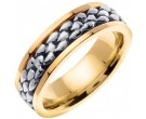 Two Tone Gold Pebble Wedding Band 7mm TT-551A