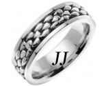 White Gold Pebble Wedding Band 7mm WG-551