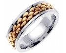 Two Tone Gold Pebble Wedding Band 7mm TT-551B