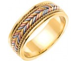 Tri Color Gold Hand Braided Wedding Band 7mm TC-553
