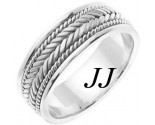 White Gold Hand Braided Wedding Band 7mm WG-553