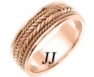 Rose Gold Hand Braided Wedding Band 7mm RG-553