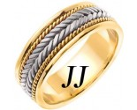 Two Tone Gold Hand Braided Wedding Band 7mm TT-553A