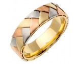 Tri Color Gold Hand Braided Wedding Band 6mm TC-554B