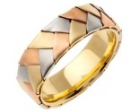 Tri Color Gold Hand Braided Wedding Band 7mm TC-554