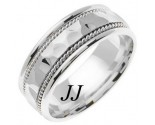 White Gold Hammered Wedding Band 8.5mm WG-555
