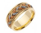 Tri Color Gold Sailor Braid Wedding Band 9mm TC-556A