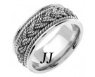 White Gold Sailor Braid Wedding Band 8mm WG-556A