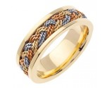 Tri Color Gold Sailor Braid Wedding Band 6mm TC-557A