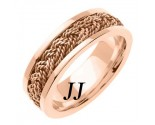 Rose Gold Sailor Braid Wedding Band 6mm RG-557