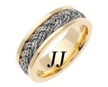 Two Tone Gold Sailor Braid Wedding Band 6mm TT-557A