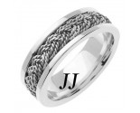 White Gold Sailor Braid Wedding Band 6mm WG-557