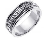 White Gold Greek Key Wedding Band 7mm WG-558A