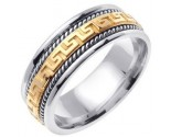 Two Tone Gold Greek Key Wedding Band 7mm TT-558D