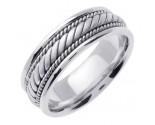 White Gold Hand Braided Wedding Band 7mm WG-560