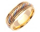 Tri Color Gold Hand Braided Wedding Band 7mm TC-560A